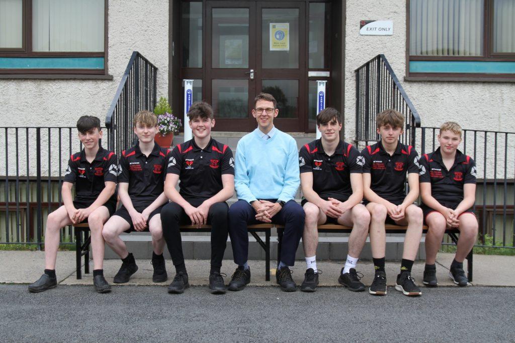 Ulster Schools U19 Table Tennis Team 2020 with their coach Mr Hutchinson