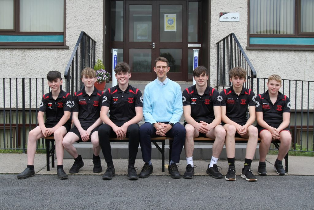 Ulster Schools U19 Table Tennis Team 2020 with their coach Mr Hutchinson